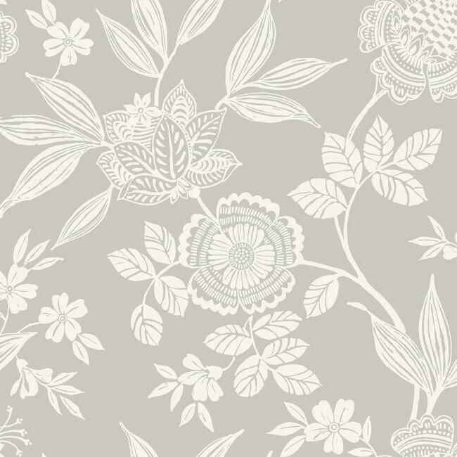 Sample Wood Cut Jacobean Wallpaper in Grey from the Silhouettes Collection by York Wallcoverings