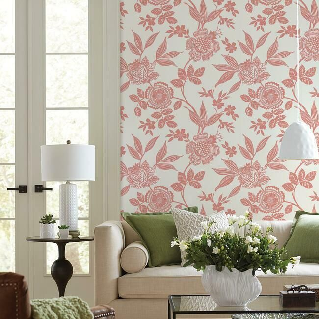 Wood Cut Jacobean Wallpaper in Salmon from the Silhouettes Collection by York Wallcoverings