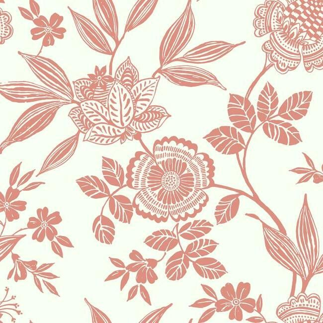 Sample Wood Cut Jacobean Wallpaper in Salmon from the Silhouettes Collection by York Wallcoverings
