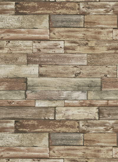 Sample Wood Wallpaper in Brown design by BD Wall