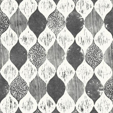 Woodblock Print Wallpaper in Black and White from Magnolia Home Vol. 2 by Joanna Gaines