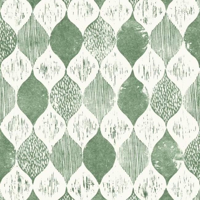 Sample Woodblock Print Wallpaper In Forest Green From