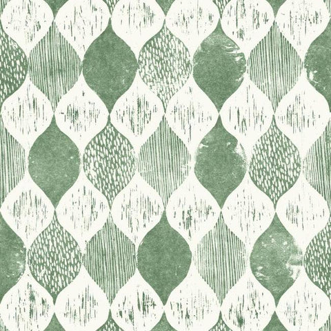 Woodblock Print Wallpaper In Forest Green From Magnolia Home Vol.