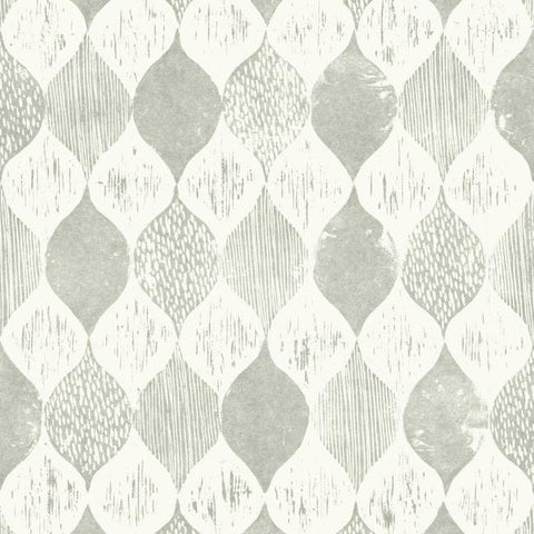 Woodblock Print Wallpaper in Grey from Magnolia Home Vol. 2 by Joanna Gaines