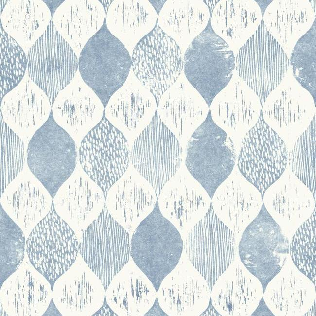 Woodblock Print Wallpaper in True Blue from Magnolia Home Vol. 2 by Joanna Gaines