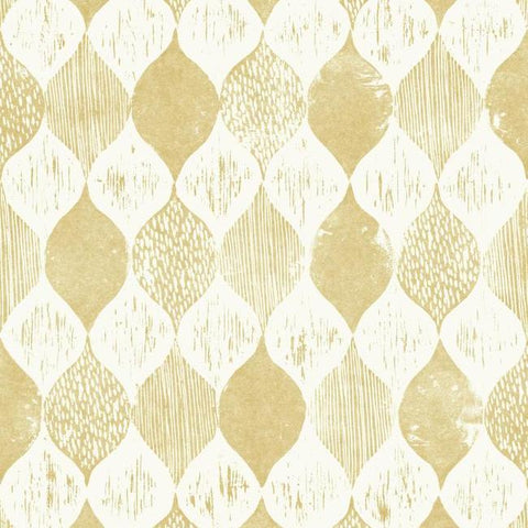 Woodblock Print Wallpaper in Yellow from Magnolia Home Vol. 2 by Joanna Gaines
