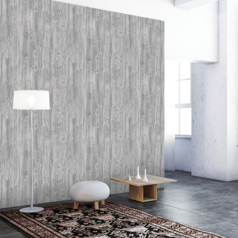 Woodgrain Textured Self Adhesive Wallpaper in Pewter design by Tempaper