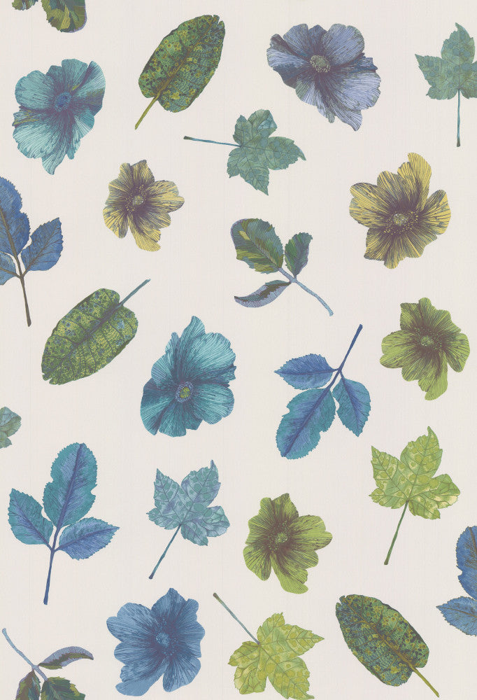 Sample Woodland Wallpaper in Blue/Teal from the Enchanted Gardens Collection by Osborne & Little