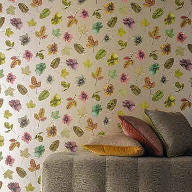 Woodland Wallpaper in Lime, Russet, and Plum from the Enchanted Gardens Collection by Osborne & Little