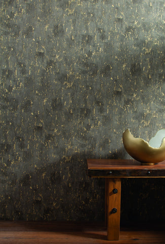 Workroom Wallpaper in Greys and Gold from Industrial Interiors II by Ronald Redding for York Wallcoverings