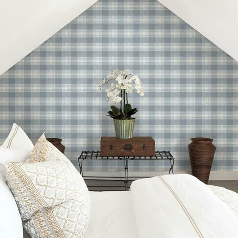 Woven Buffalo Check Wallpaper in Blue from the Simply Farmhouse Collection by York Wallcoverings