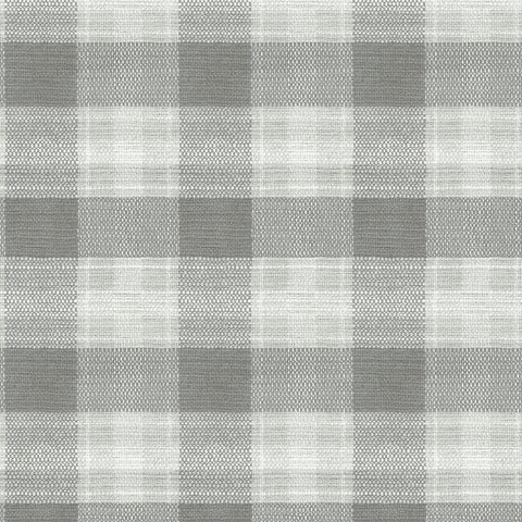 Woven Buffalo Check Wallpaper in Grey from the Simply Farmhouse Collection by York Wallcoverings
