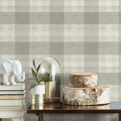 Woven Buffalo Check Wallpaper in Linen from the Simply Farmhouse Collection by York Wallcoverings