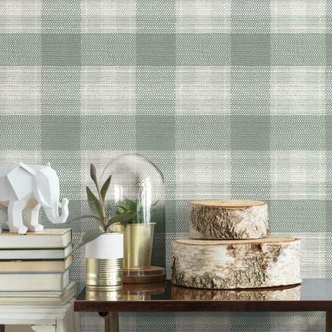 Woven Buffalo Check Wallpaper in Sage from the Simply Farmhouse Collection by York Wallcoverings