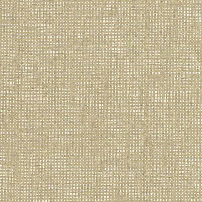 Sample Woven Crosshatch Wallpaper in Beige and Silver from the Grasscloth II Collection by York Wallcoverings