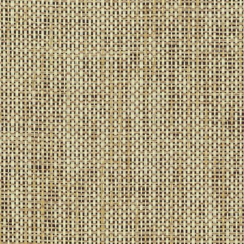 Woven Crosshatch Wallpaper in Tan and Black from the Grasscloth II Collection by York Wallcoverings
