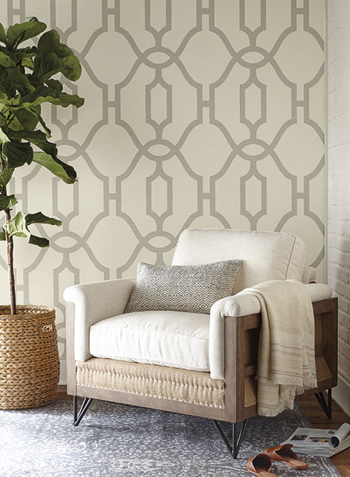 Woven Trellis Wallpaper In Quarry Grey On Cream From