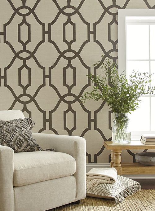 Woven Trellis Wallpaper in Charcoal on Khaki from Magnolia Home Vol. 2 by Joanna Gaines