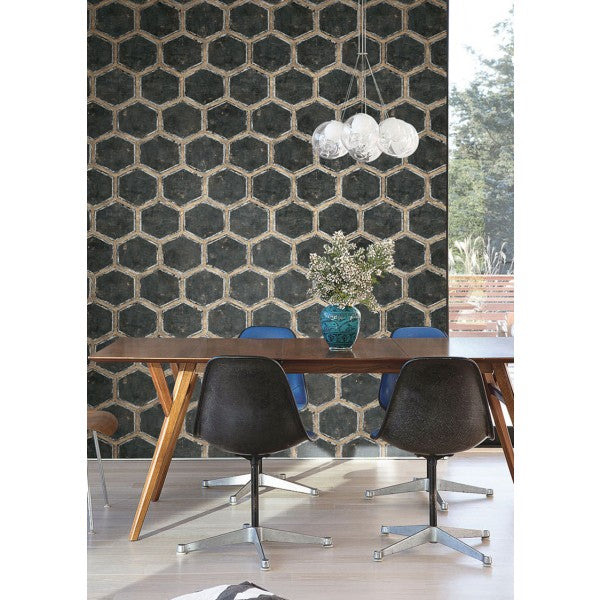 Wright Wallpaper in Black and Gold from the Metalworks Collection by Seabrook Wallcoverings