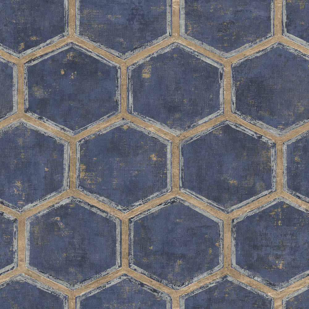 Sample Wright Wallpaper in Blue and Tan from the Metalworks Collection by Seabrook Wallcoverings