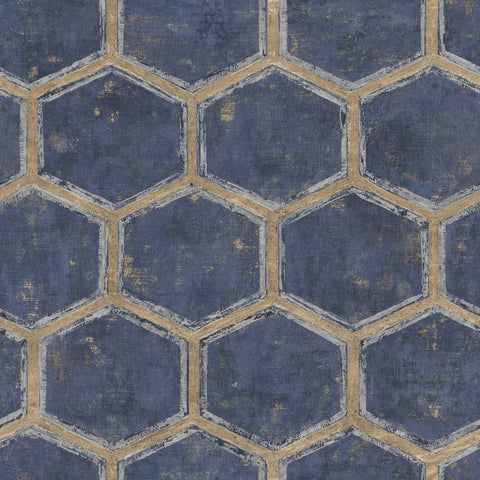Wright Wallpaper in Blue and Tan from the Metalworks Collection by Seabrook Wallcoverings