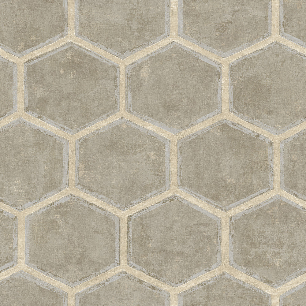 Sample Wright Wallpaper in Silver and Neutrals from the Metalworks Collection by Seabrook Wallcoverings