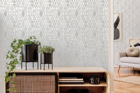 Wrought Iron Wallpaper in Pearl from the Moderne Collection by Stacy Garcia for York Wallcoverings