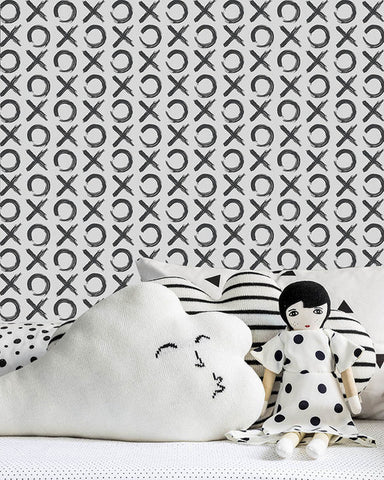 XO Wallpaper in Charcoal by Marley + Malek Kids