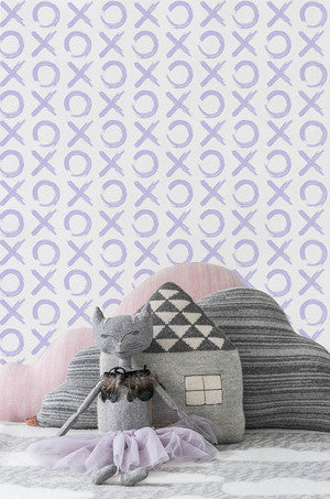 XO Wallpaper in Lavender by Marley + Malek Kids