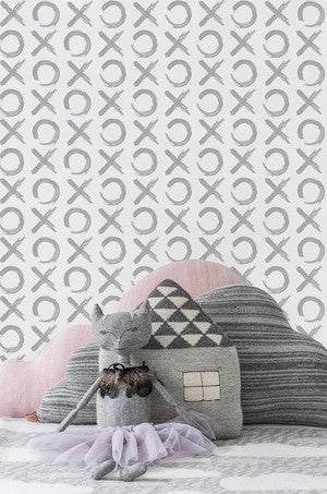 XO Wallpaper in Silver by Sissy + Marley for Jill Malek