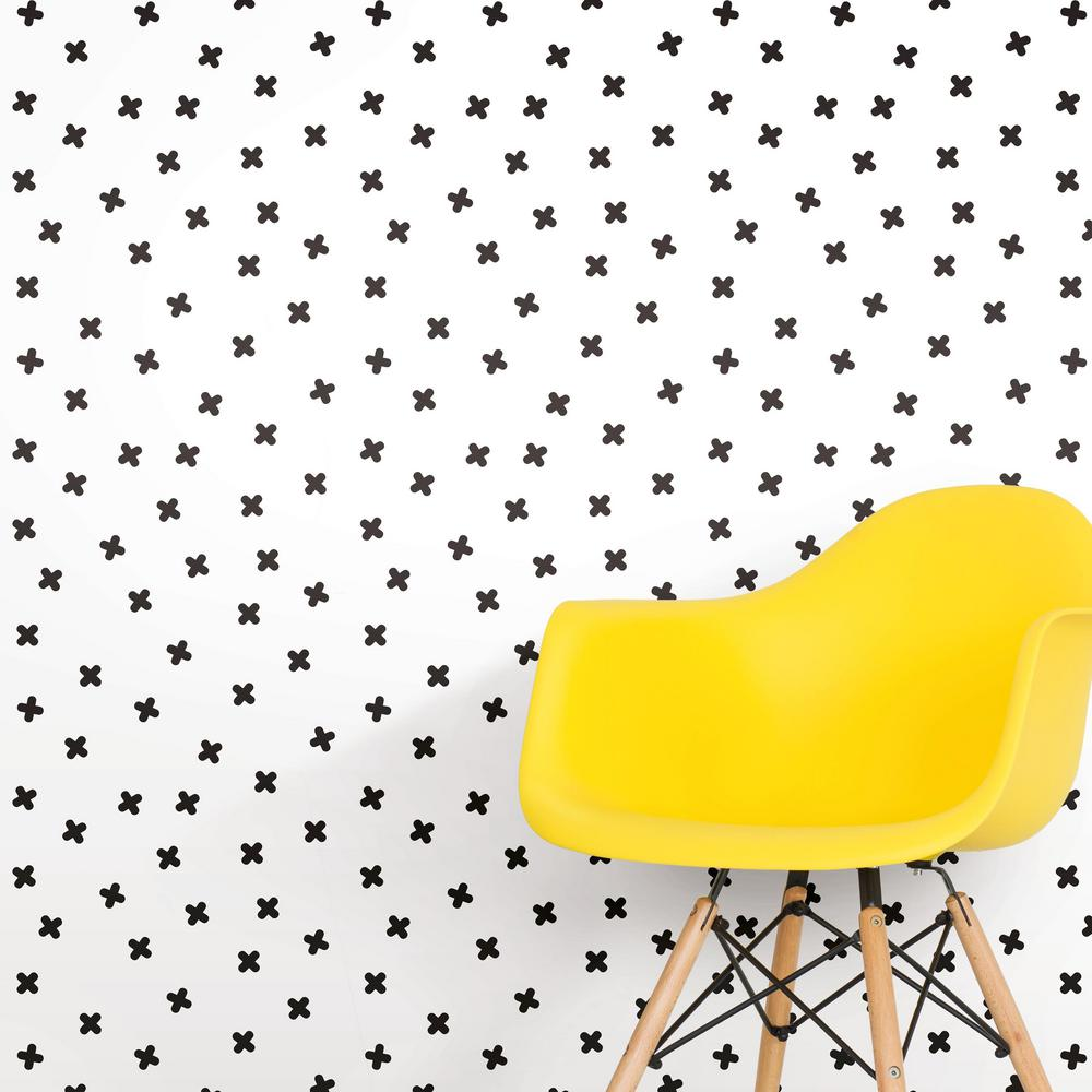 X Marks The Spot Peel Stick Wallpaper In Black And White By Roommate Burke Decor