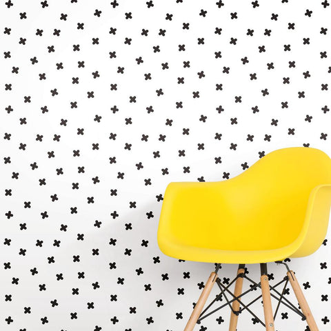 X Marks The Spot Peel & Stick Wallpaper in Black and White by RoomMates for York Wallcoverings