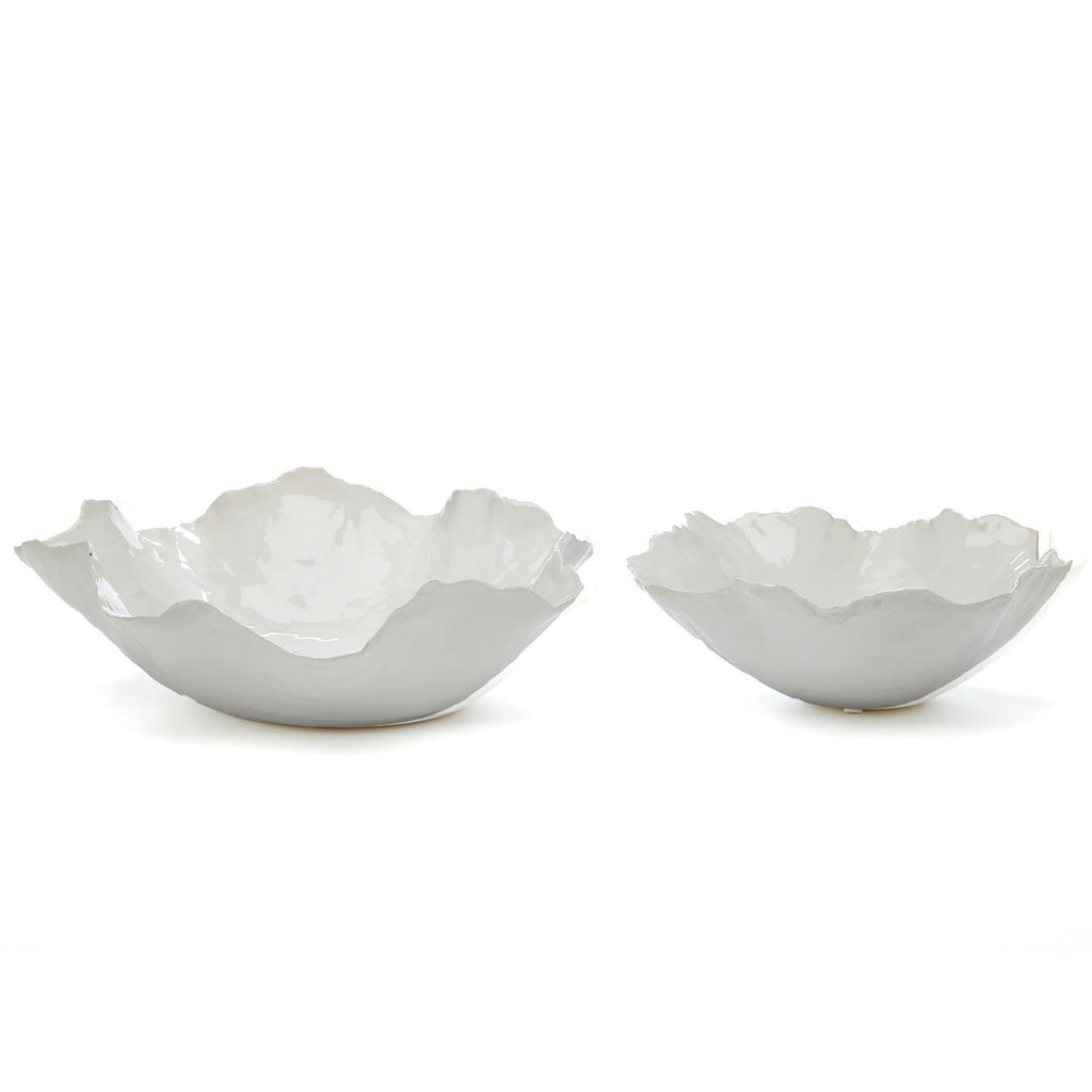 Set of 2 White Free Form Bowls
