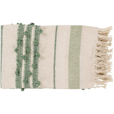 Yemaya YMA-1002 Throw in Cream & Mint by Surya