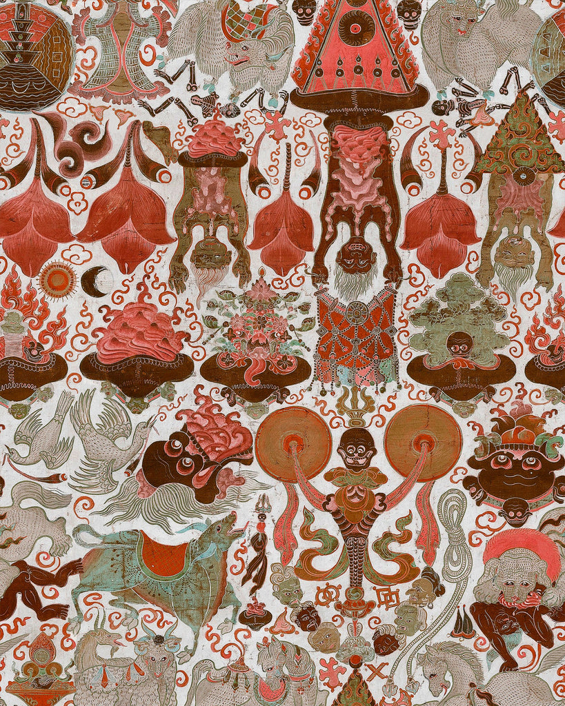Sample Yama Dharmaraja Light Wallpaper in Brown and Red from the Wallpaper Compendium Collection by Mind the Gap