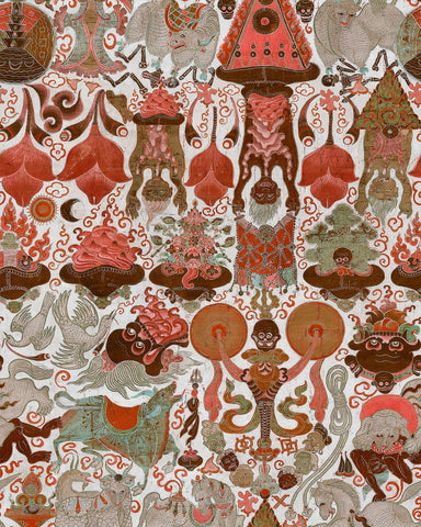 Yama Dharmaraja Light Wallpaper in Brown and Red from the Wallpaper Compendium Collection by Mind the Gap
