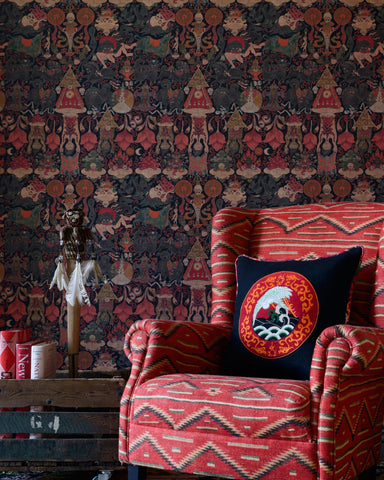 Yama Dharmaraja Wallpaper in Red and Brown from the Wallpaper Compendium Collection by Mind the Gap