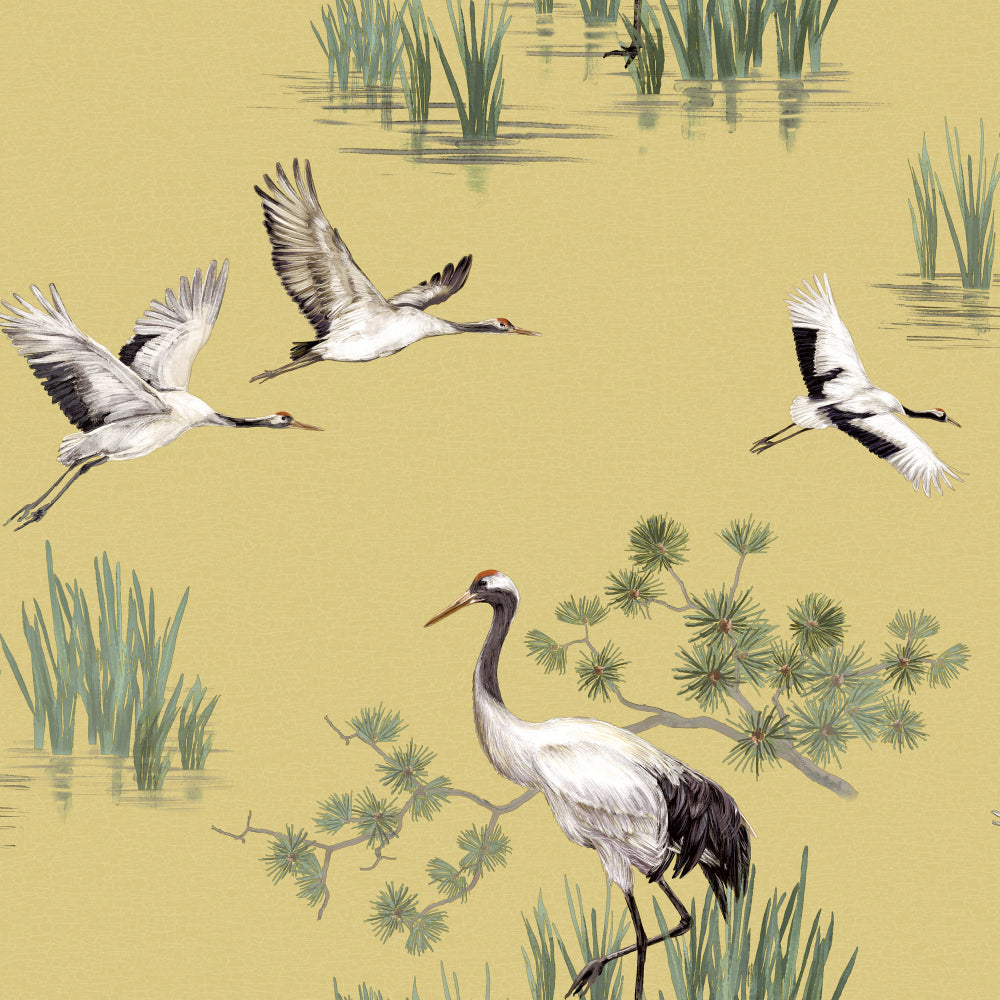 Sample Yellow Cranes in Water Wallpaper by Walls Republic