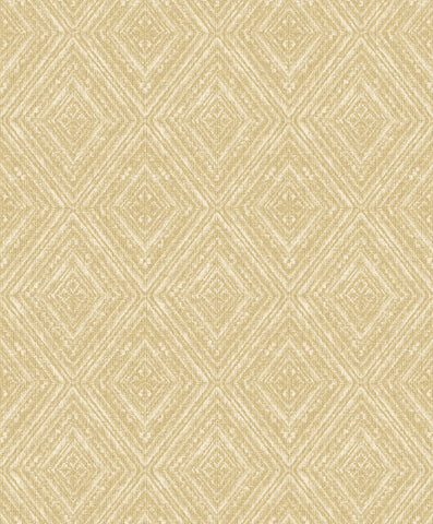 Sample Yellow Metallic Faux Fabric Diamonds Wallpaper by Walls Republic