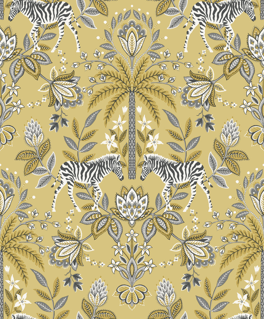 Yellow Zebra Ornamental Wallpaper by Walls Republic