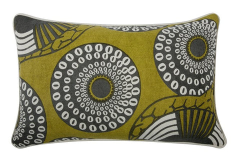 "Yinka 12"" x 20"" Reversible Pillow in Ochre design by Thomas Paul"