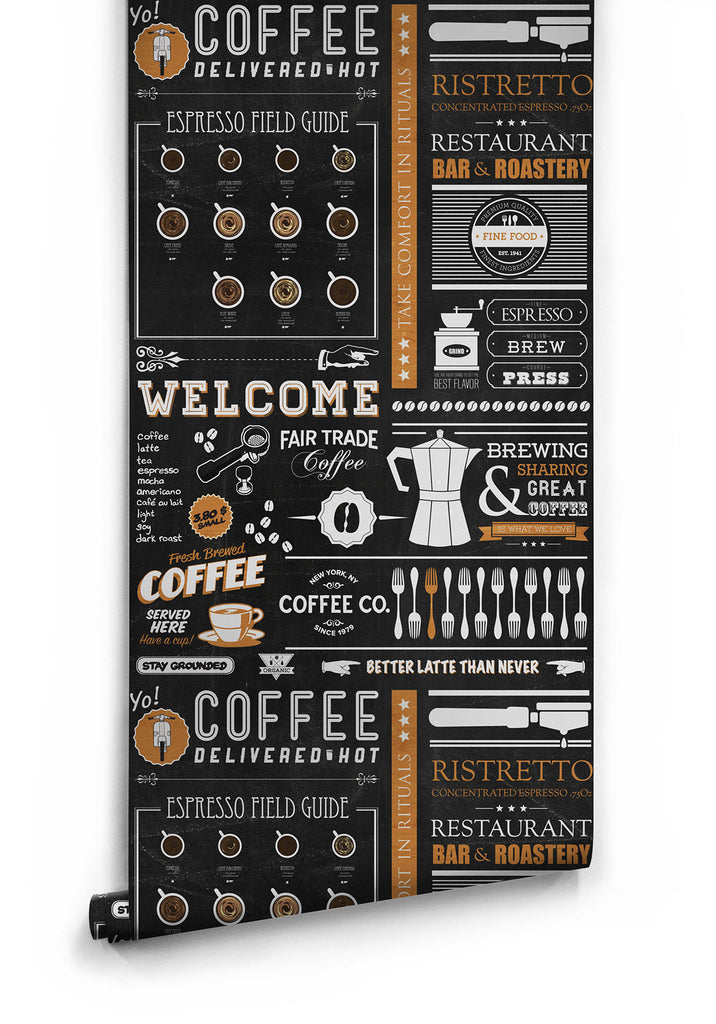 Yo Coffee Boutique Faux Wallpaper design by Milton & King