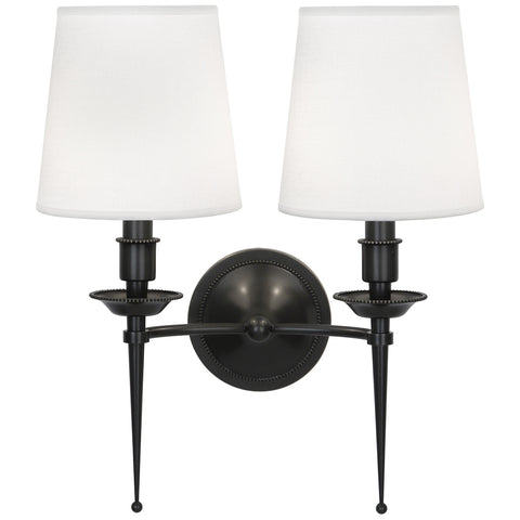 Cedric Double Arm Wall Sconce by Robert Abbey