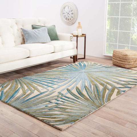 Palmetto Handmade Floral Blue & Green Area Rug