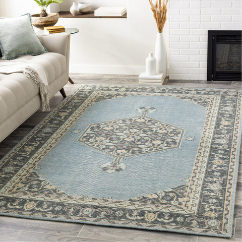 Zahra ZHA-4050 Hand Knotted Rug in Aqua & Charcoal by Surya