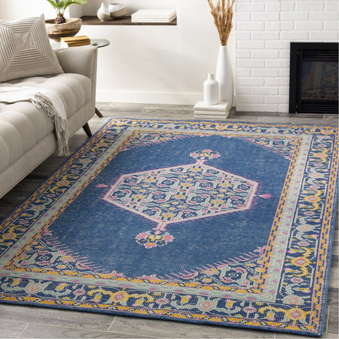 Zahra ZHA-4051 Hand Knotted Rug in Navy & Bright Yellow by Surya