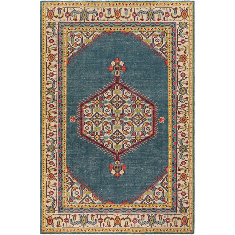 Zahra ZHA-4052 Hand Knotted Rug in Teal & Beige by Surya