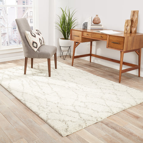 Invoke Trellis Rug in Turtledove & Shitake design by Jaipur