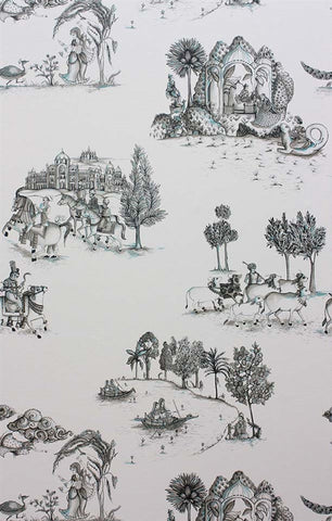 Zanskar Wallpaper in Black and White by Matthew Williamson for Osborne & Little