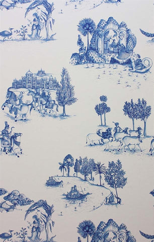 Zanskar Wallpaper in Blue and White by Matthew Williamson for Osborne & Little